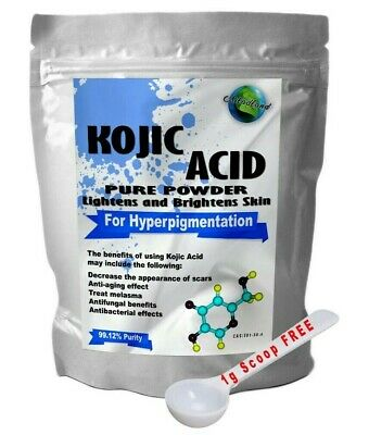 Kojic Acid 99% Powder, Skin Lightening Whitening Bleaching Diy Cream Lotion Soap