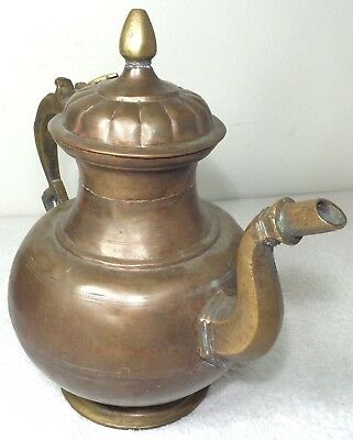 Antique Persian Copper Brass Teapot Pot Elegant Solid Heavy Metal Old Age Rustic