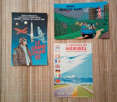 3 carte postale MERIBEL Tintin BERGESE VOL 087 Festival aviation Astronautique