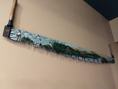 One-of-a-kind, hand-painted antique 6' two-man saw blade, Beautiful scenery