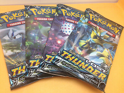 4 x Pokemon Sun & Moon Lost Thunder Booster Packs - Factory Sealed(40 Cards)