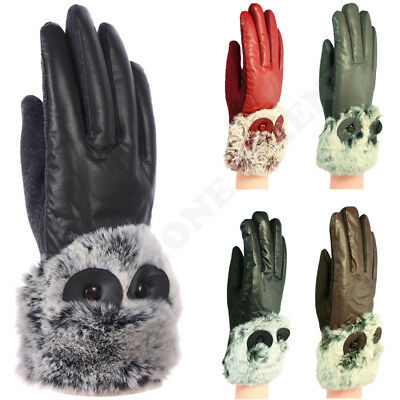 Women Dressy Winter Gloves Leather Thermal Lining Fur Trim Cuff Touch Screen
