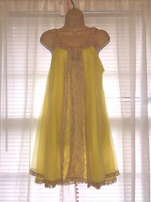 Vtg Lingerie Negligee Nightgown Sunshine Yellow Double Layer Chiffon Lace Size L