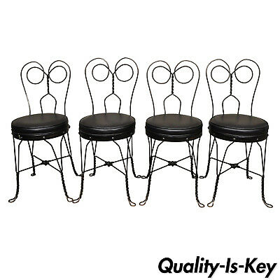 4 Antique Twisted Heart Back Wrought Iron Ice Cream Parlor Dining Chairs