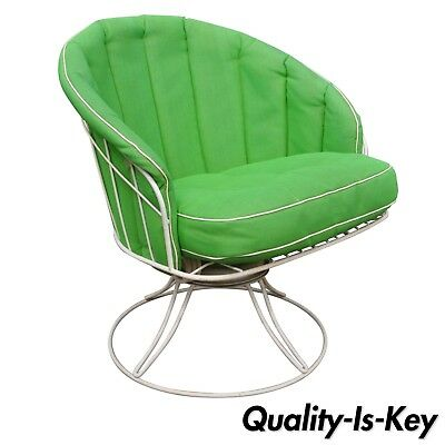 Vintage Homecrest Siesta Green Vinyl Wrought Iron Wire Swivel Rocker Chair