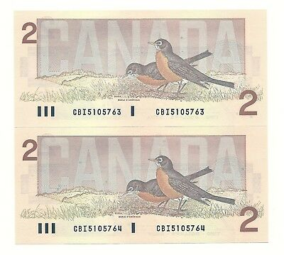 2 x 1986 CANADA TWO DOLLAR BANK NOTES (UNC/CON)