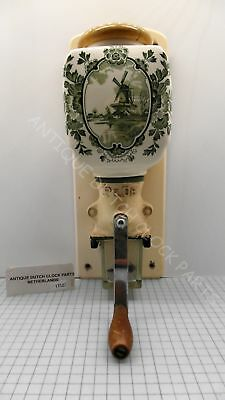 Nice! Green Delft Ware Dutch Wall Coffee Grinder Marked Pede