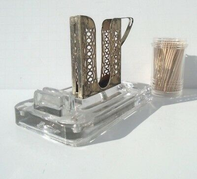 Vintage Victorian Combo GLASS ASHTRAY Match Slot & SILVER PLATE CIGARETTE HOLDER