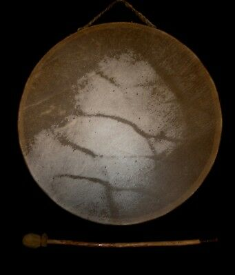 """Native American 2- Sided 12 3/4"""" Elk Hide Hand Drum, by RAY """"FIRST WOLF"""" LESSER"""