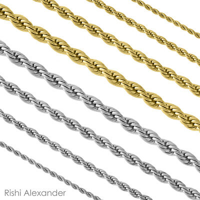 Stainless Steel Rope Chain Necklace Boys and Mens Lengths in Silver or Gold