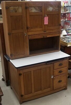 Beautiful Antique Oak Hoosier Baker's Cabinet Sellers Elwood Indiana Glass Doors
