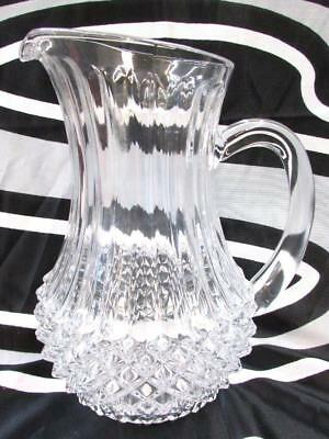 Vintage Beautiful Pressed Glass Carafe Pitcher Vase Diamond Design ~SS2