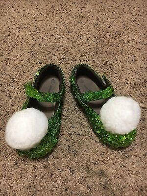 Handmade Tinkerbell Green Sparkle Shoes Size 11.5 Girls