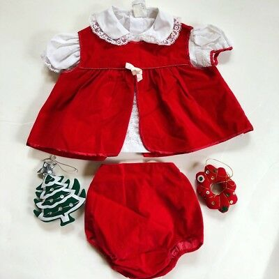 Vintage Baby Girl Dress Outfit Red Velveteen Ruffle 3 Piece Christmas 6-12 Mos