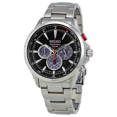 Seiko Solar Chronograph Black Dial Stainless Steel Men's Watch SSC493