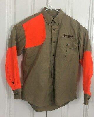 e922fd057f630 Cabelas Tan Blaze Orange Shooting/Hunting Shirt Size Men's Medium Right  Handed