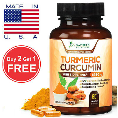 Turmeric Curcumin Extra Strength 1950mg with Bioperine (Black Pepper) 60 Caps