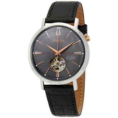 Bulova Classic Automatic Grey Dial Black Leather Men's Watch 98A187