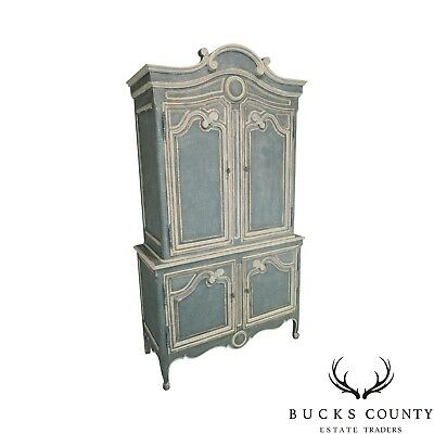 Baker French Louis XV Style Custom Painted Armoire Bar Cabinet