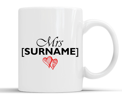 Personalised Surname Love Hearts Gift - 10oz White Ceramic Mug