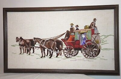 large vintage hand embroidered horse drawn chariot buggy needlepoint embroidery