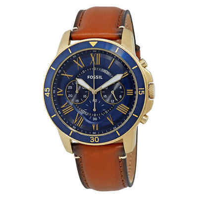 Fossil Grant Blue Dial Men's Chronograph Leather Watch FS5268