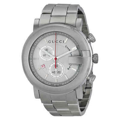 44fd5ac7ad2 GUCCI G-TIMELESS SAPPHIRE Chronograph White Dial Rubber Men s Watch ...