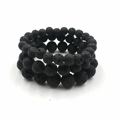 Man Women Lava Rock Stone Bead Essential Oil Diffuser Stretchy Yoga Bracelets Q8