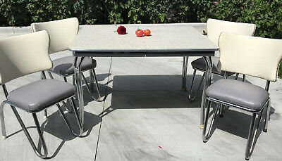 HOWELL chrome formica gray cracked ice table + 4 chairs