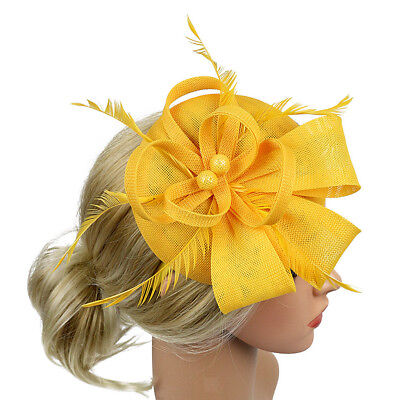 Lady Feather Fascinator Cocktail Hat Kentucky Derby Pillbox Hats Headbands