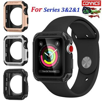 the best attitude 61207 c066a FOR APPLE WATCH iWatch Series 3/2/1 38mm/42mm Tough Armor Heavy Duty Case  Cover