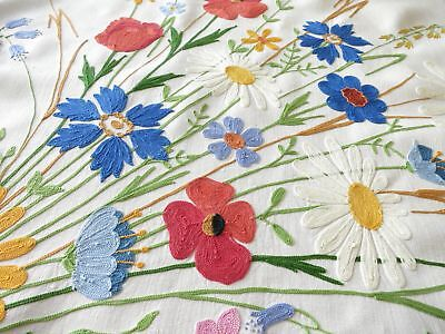 Wildflowers & Garden Flowers French Beauvais Embroidery Linen Tablecloth 66x88