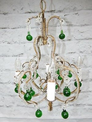 Vintage Petite Italian Crystal Beaded 4 Light Chandelier w/ Green Murano Drops