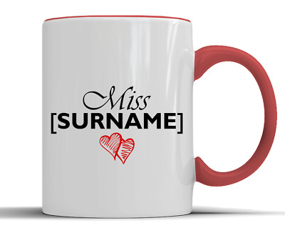 Personalised 'Miss' Surname Love Hearts Gift - Two-Tone Ceramic Mug