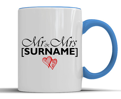 Personalised 'Mr & Mrs' Surname Love Hearts Gift - Two-Tone Ceramic Mug