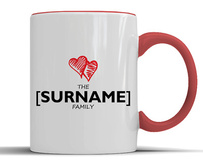 Personalised Family Surname Love Hearts Gift - Two-Tone Ceramic Mug