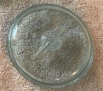 Vintage Blue Green Glass Canning Lid- Wire Bale Top Style- Ball, Ideal, etc.