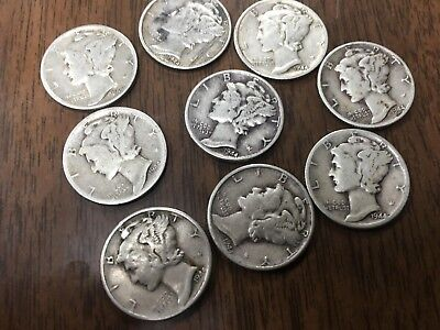 1940's Mercury Dimes - 90% Silver -  SEE DESCRIPTION FOR DETAILS !