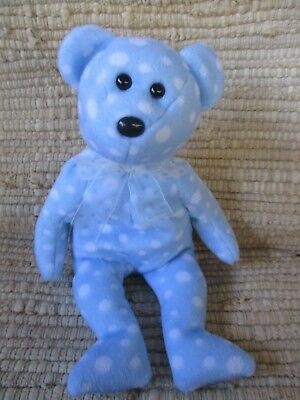 "TY Beanie Babies 8.5""Tall Bear Named ""Bubbly"" Blue/White Bubbles Pattern 2003"