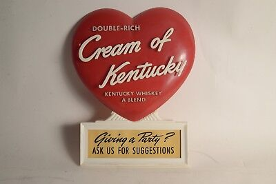 Rare Vintage Cream of Kentucky Whiskey Heart Advertising Sign Perfection Plastic