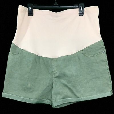 Liz Lange Maternity Over The Belly Midi Jean Shorts Green Size XXL (20) ~  NWT