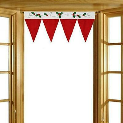 Christmas Red Hat Banner Valance Home Window Curtain Bunting Banner Xmas New TO
