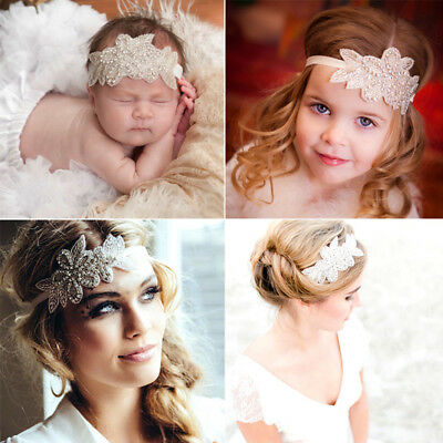 Newborn Baby Girl Women Lace Leaf Headband Rhinestone Hairband Hair Accessory