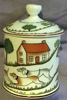 Fox Hunt Hunting Crown Staffordshire Covered Mustard or Jelly Pot