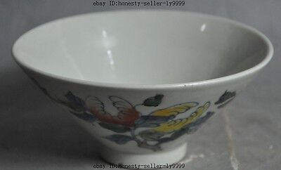 marked chinese china wucai Porcelain Peach tree Shou Tao flower statue bowl cup