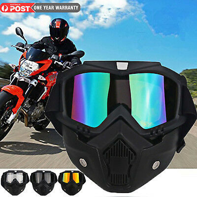 b71550cbb0a Modular Motorcycle Harley Style Helmet Open Face Mask Shield Detachable  Goggles