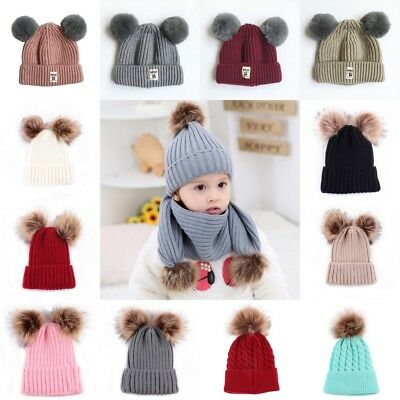 Kids Girl Boy Baby Knit Hat Infant Child Winter Warm Crochet Pom Pom Beanies Cap