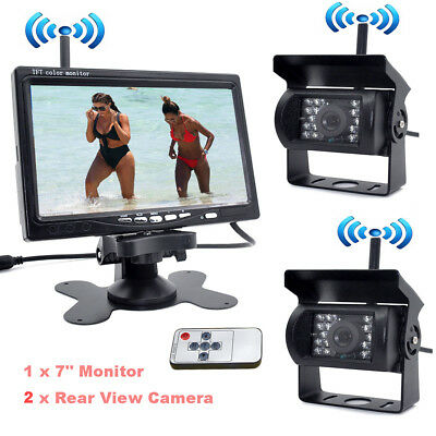 "7"" Wireless Rear View Monitor Kit 2x Night Vision Backup Camera for Bus Truck RV"