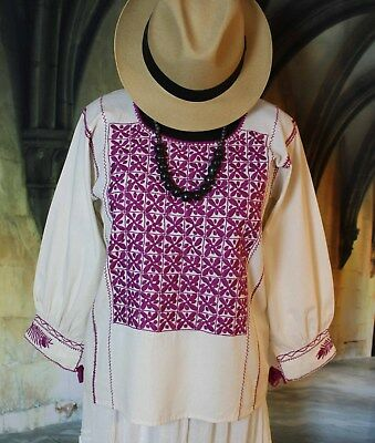 M/L Mexican Blouse Cream & Magenta Hand Embroidered Chiapas Boho Fiesta Cowgirl