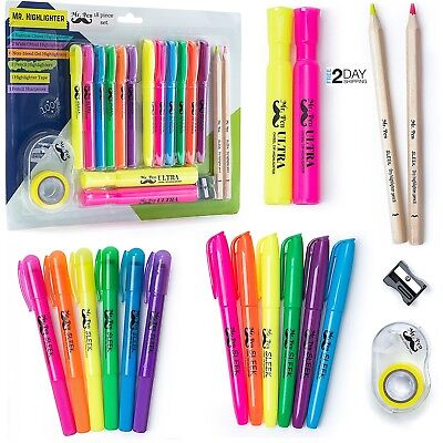 Mr. Pen 18 Pc  Multi-Color Highlighter Set 6 Gel Bible 6 Narrow 2 wide and Tape
